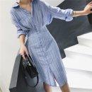 Women's large Autumn 2020 sky blue 1=S,2=M,3=L,4=XL Dress singleton  commute thin Socket Long sleeves stripe Simplicity Polo collar Medium length other fold shirt sleeve Button longuette other
