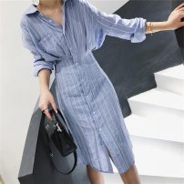 Women's large Autumn 2020 sky blue 1=S,2=M,3=L,4=XL Dress singleton  commute thin Socket Long sleeves stripe Simplicity Polo collar Medium length other fold shirt sleeve Button longuette other