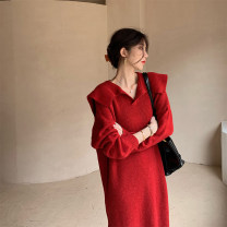 Women's large Spring 2021 Red, apricot 1 = s, 2 = m, 3 = large L, 4 = Large XL Dress singleton  commute moderate Socket Long sleeves Solid color Korean version V-neck routine 96% and above longuette