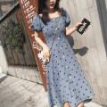 Dress Summer 2020 Apricot, blue S=1,M=2,L=3,XL=4 Mid length dress singleton  Short sleeve Sweet square neck High waist Dot Socket A-line skirt puff sleeve Others Type A Button 71% (inclusive) - 80% (inclusive) Chiffon Mori