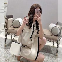 Women's large Summer 2021 Apricot, black 1=S,2=M,3=L,4=XL Dress singleton  commute moderate Socket Short sleeve Solid color Korean version Polo collar Three dimensional cutting routine Button Short skirt