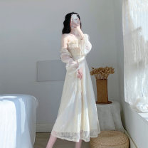 Dress Summer 2021 Beige According to the usual code number and detail page size XS S M L longuette Two piece set Long sleeves commute square neck High waist Solid color zipper A-line skirt routine Others 18-24 years old Type A Kavrsorle / Card Office Retro KSD2189 More than 95% Lace polyester fiber