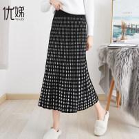 skirt Winter 2020 M L XL XXL Black Camel Mid length dress Versatile High waist Pleated skirt lattice Type A 25-29 years old 81% (inclusive) - 90% (inclusive) knitting Youdi nylon Polyamide (nylon) 81.3% polyester 18.7% Pure e-commerce (online only) 301g / m ^ 2 (including) - 350g / m ^ 2 (including)