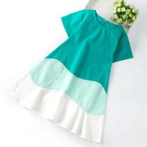 Dress Green, white female Other / other Cotton 100% summer Korean version Short sleeve Solid color Pure cotton (100% cotton content) A-line skirt Class B Three, four, five, six, seven, eight, nine, ten, eleven, twelve, thirteen