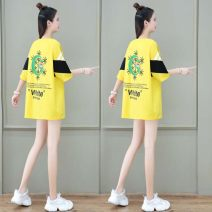 Women's large Summer 2021 Pink Yellow Black M L XL T-shirt singleton  commute easy moderate Socket Short sleeve Solid letters Korean version Crew neck Medium length routine 63215*ijkaqA Jingjing forest Resin fixation Cotton 95% polyurethane elastic fiber (spandex) 5% Pure e-commerce (online only)