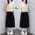 Dress Spring 2021 Apricot + black skirt, apricot + Navy skirt M,L,XL,2XL longuette Two piece set Long sleeves commute Crew neck High waist Solid color Socket Big swing Bat sleeve Others Type H Simplicity Pockets, stitching knitting polyester fiber