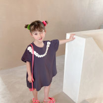 Dress Blue grey, apricot grey female Other / other 90cm,100cm,110cm,120cm,130cm,140cm Cotton 100% summer Korean version Short sleeve Cartoon animation Pure cotton (100% cotton content) A-line skirt Class B 2 years old, 3 years old, 4 years old, 5 years old, 6 years old, 7 years old, 8 years old