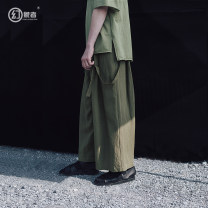 Casual pants Visionary Youth fashion Grass green black S M L XL 2XL XS routine trousers Other leisure easy No bullet HSXL9585G summer youth Japanese Retro 2019 middle-waisted Straight cylinder Lyocell 70% flax 30% straps Detachable strap Solid color Spring of 2019