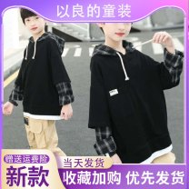 Sweater / sweater Other / other Black [good quality], blue [good quality], white [good quality] male 110cm,120cm,130cm,140cm,150cm,160cm,170cm spring and autumn No detachable cap Korean version routine cotton lattice