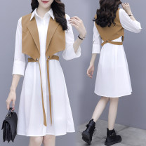 Dress Spring 2021 Khaki two piece set black two piece set cyan grey two piece set S M L XL 2XL Mid length dress Two piece set Long sleeves commute Polo collar High waist Solid color Single breasted A-line skirt routine Others 25-29 years old Type A Princess Zifei Korean version Button ZF1743 other