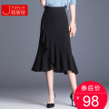skirt Summer of 2019 M L XL 2XL 3XL 4XL Black Decor Mid length dress commute High waist skirt Solid color Type H 25-29 years old JMT411S More than 95% Chiffon Jane mitti polyester fiber Ruffle zipper Korean version Polyester 98% polyurethane elastic fiber (spandex) 2% Pure e-commerce (online only)