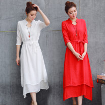 Dress Spring 2017 White, red S,M,L,XL,2XL Mid length dress singleton  elbow sleeve commute V-neck High waist Solid color Socket A-line skirt routine 25-29 years old Mahogan Simplicity Frenulum 31% (inclusive) - 50% (inclusive) other polyester fiber