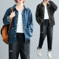 Women's large Spring 2021 Blue, black Average size [recommended 100-230 kg] Jacket / jacket singleton  commute easy moderate Cardigan Long sleeves literature Polo collar routine Denim Three dimensional cutting shirt sleeve S1217W pocket 31% (inclusive) - 50% (inclusive)
