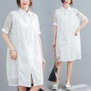 Women's large Summer 2020 white L [100-140 Jin recommended], XL [140-180 Jin recommended] Dress singleton  commute easy thin Cardigan Short sleeve Solid color literature Polo collar polyester routine S0526X Lace stitching 51% (inclusive) - 70% (inclusive)