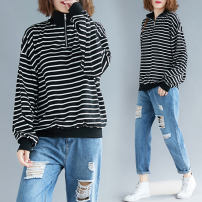 Women's large Spring 2021 Picture color M [recommended 100-140 kg], l [recommended 140-180 kg], XL [recommended 180-220 kg] T-shirt singleton  commute easy moderate Socket Long sleeves stripe literature Half open collar routine polyester routine 31% (inclusive) - 50% (inclusive) zipper