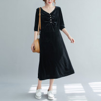 Women's large Spring 2021 black L [100-115 Jin recommended], XL [115-130 Jin recommended], 2XL [130-145 Jin recommended], 3XL [145-160 Jin recommended], 4XL [160-180 Jin recommended], 5XL [180-200 Jin recommended] Dress singleton  commute easy moderate Socket Long sleeves Solid color literature