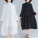 Dress Spring 2021 White, black L [recommended 100-120 kg], XL [recommended 120-140 kg], 2XL [recommended 140-160 kg] Mid length dress singleton  Long sleeves commute stand collar Loose waist Solid color Petal sleeve Type A literature T1220SW 31% (inclusive) - 50% (inclusive) cotton