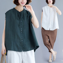 Women's large Summer 2021 Green, off white shirt singleton  commute easy thin Sleeveless literature other routine Polyester, cotton Three dimensional cutting routine Button 31% (inclusive) - 50% (inclusive)