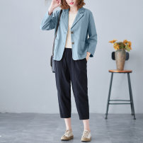 Women's large Spring 2021 M [suggested 100-115 kg], l [suggested 115-130 kg], XL [suggested 130-150 kg], 2XL [suggested 150-170 kg] Jacket / jacket singleton  commute easy moderate Cardigan Long sleeves Solid color literature other routine polyester Three dimensional cutting routine S0306W Button