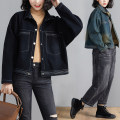 Women's large Spring 2021 Blue, black L [recommended 100-135 kg], XL [recommended 135-170 kg] Jacket / jacket singleton  commute easy moderate Cardigan Long sleeves literature Polo collar routine Denim, cotton Three dimensional cutting routine S0309W 31% (inclusive) - 50% (inclusive)