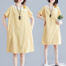 Women's large Summer 2021 Picture color L [recommended 100-150 kg], XL [recommended 150-210 kg] Dress Three piece set commute easy moderate Socket Short sleeve lattice literature polyester routine pocket 51% (inclusive) - 70% (inclusive) Middle-skirt