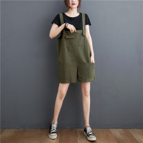 Women's large Summer 2021 Army green, watermelon red, warm orange Average size [100-200kg recommended] trousers singleton  commute easy moderate Solid color literature Polyester, cotton H0616W pocket 31% (inclusive) - 50% (inclusive) shorts