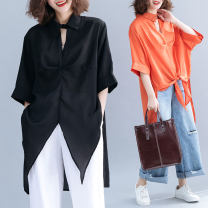 Women's large Spring 2021 Black, orange Average size [recommended 100-220 kg] shirt singleton  commute easy thin Cardigan elbow sleeve Solid color literature V-neck Medium length polyester routine X0221S Swallow tail 51% (inclusive) - 70% (inclusive)
