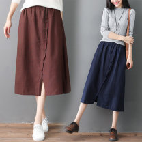 skirt Summer 2020 Average size [recommended 100-160 kg] Brown, dark grey, dark blue Mid length dress commute Solid color S0224 51% (inclusive) - 70% (inclusive) pocket literature