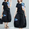 Women's large Summer 2021 black Other oversize styles Two piece set commute easy moderate Socket Short sleeve Korean version Crew neck Medium length Polyester, cotton routine W0308 pocket 31% (inclusive) - 50% (inclusive) Medium length