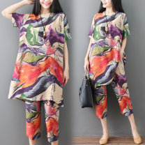Women's large Summer 2020 Ink color L [100-140 Jin recommended], XL [140-180 Jin recommended] Other oversize styles Two piece set commute easy thin Socket Short sleeve Abstract pattern literature Crew neck Medium length Polyester, cotton printing and dyeing routine B0310 pocket Cropped Trousers