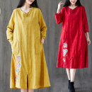 Women's large Spring 2021 Light blue, red, yellow M [suggested 100-120 kg], l [suggested 120-140 kg], XL [suggested 140-160 kg], 2XL [suggested 160-180 kg] Dress singleton  commute easy moderate Socket Long sleeves literature other polyester Three dimensional cutting routine W0817 Embroidery