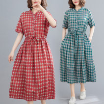 Women's large Summer 2021 Brown, red, green M [recommended 100-125 kg], l [recommended 125-150 kg], XL [recommended 150-175 kg], 2XL [recommended 175-200 kg] Dress singleton  commute easy thin Socket Short sleeve lattice literature stand collar Polyester, cotton Three dimensional cutting routine