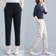 Women's large Summer 2020 M [suggested 100-115 kg], l [suggested 115-130 kg], XL [suggested 130-145 kg], 2XL [suggested 145-160 kg] trousers singleton  commute easy moderate Solid color literature Polyester, cotton 31% (inclusive) - 50% (inclusive) Ninth pants