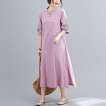 Dress Summer 2020 Grey, purple, green, blue M [suggested 100-115 kg], l [suggested 115-130 kg], XL [suggested 130-145 kg], 2XL [suggested 145-160 kg] Mid length dress singleton  elbow sleeve commute stand collar Loose waist routine literature Embroidery S0510 31% (inclusive) - 50% (inclusive) cotton