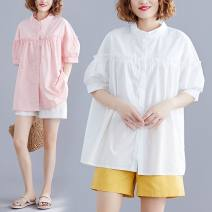 Women's large Summer 2021 White, pink L [recommended 100-160 kg], XL [recommended 160-220 kg] shirt singleton  commute easy thin Cardigan Short sleeve Solid color literature stand collar routine Polyester, cotton Three dimensional cutting bishop sleeve W0306 31% (inclusive) - 50% (inclusive)