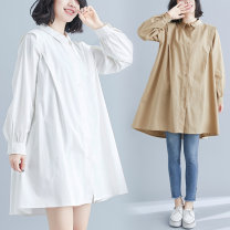 Women's large Spring 2021 Cream, apricot, black M [suggested 110-140 kg], l [suggested 140-170 kg], XL [suggested 170-200 kg], 2XL [suggested 200-240 kg] Dress singleton  commute easy moderate Cardigan Long sleeves Solid color literature Polo collar Medium length polyester Three dimensional cutting