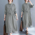 Women's large Spring 2021 Picture color M [recommended 100-125 kg], l [recommended 125-150 kg], XL [recommended 150-175 kg], 2XL [recommended 175-200 kg] Dress singleton  commute easy moderate Socket Long sleeves lattice literature Polo collar polyester fiber routine 51% (inclusive) - 70% (inclusive)