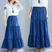 Women's large Spring 2021, summer 2021 navy blue Average size [100-170 kg recommended] skirt singleton  commute easy moderate Solid color literature Denim Three dimensional cutting S0317W 31% (inclusive) - 50% (inclusive) UltraShort