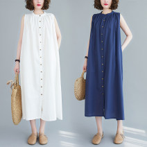 Women's large Summer 2020 White, blue One size fits all [recommended 100-220 kg] Dress singleton  commute easy moderate Cardigan Sleeveless Solid color literature V-neck polyester fold X0430H Button 51% (inclusive) - 70% (inclusive) longuette Lotus leaf edge