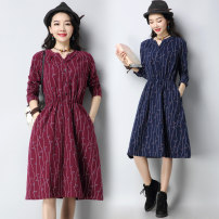 Dress Spring 2021 Red, blue M [suggested 100-115 kg], l [suggested 115-130 kg], XL [suggested 130-140 kg], 2XL [suggested 140-150 kg], 3XL [suggested 150-160 kg] Mid length dress singleton  Long sleeves commute V-neck middle-waisted Single breasted A-line skirt routine Type A literature pocket G0917W
