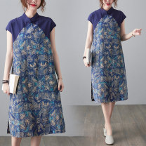 Women's large Summer 2021 Picture color M [suggested 100-115 kg], l [suggested 115-130 kg], XL [suggested 130-145 kg], 2XL [suggested 145-160 kg] Dress singleton  commute easy moderate Socket Short sleeve literature stand collar polyester other S0328W 51% (inclusive) - 70% (inclusive) Medium length