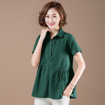 Women's large Summer 2021 Light gray, light blue, white, pink, red, green, navy M [recommended 80-90 kg], l [recommended 90-100 kg], XL [recommended 100-120 kg], 2XL [recommended 120-140 kg], 3XL [recommended 140-160 kg] shirt singleton  commute Straight cylinder moderate Socket Short sleeve routine
