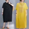 Women's large Summer 2020 Yellow, black L [recommended 110-170 kg], XL [recommended 170-240 kg] Dress singleton  commute easy thin Socket elbow sleeve Solid color literature stand collar polyester Bat sleeve S0504H pocket 51% (inclusive) - 70% (inclusive) Medium length