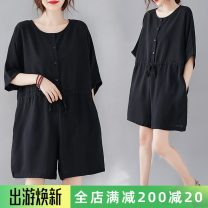 Women's large Summer 2020 Black Jumpsuit Average size [recommended 100-160 kg] trousers singleton  commute easy thin Conjoined Short sleeve Solid color literature Crew neck polyester routine H0613S pocket 51% (inclusive) - 70% (inclusive) shorts
