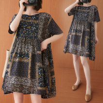 Women's large Summer 2021 Ethnic design Average size [100-200kg recommended] Dress singleton  commute easy moderate Socket Short sleeve lattice literature Crew neck Medium length Polyester, cotton printing and dyeing routine Z0326W pocket 31% (inclusive) - 50% (inclusive) Medium length Pleated skirt