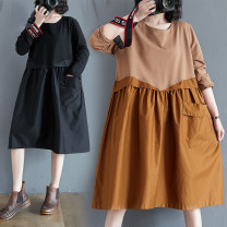 Women's large Spring 2021 Black, Caramel M [recommended 80-100 kg], l [recommended 100-120 kg], XL [recommended 120-140 kg], 2XL [recommended 140-160 kg] Dress singleton  commute easy moderate Socket Long sleeves Solid color literature Crew neck Polyester, cotton Three dimensional cutting routine
