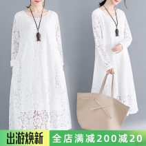 Women's large Spring 2021 White, red, black, pink M [recommended 100-120 kg], l [recommended 120-140 kg], XL [140-160 Jin recommended], 2XL [160-180 Jin recommended], 3XL [180-200 Jin recommended] Dress singleton  commute easy moderate Socket Long sleeves literature Crew neck Polyester, cotton