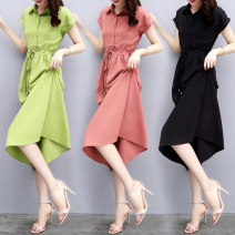 Dress Summer of 2019 Black Avocado Green Orange Pink S M L XL XXL Mid length dress singleton  Short sleeve commute Polo collar High waist Solid color Single breasted A-line skirt other Others 25-29 years old Raman Hui / manhui Korean version Lace up button O62M1868A More than 95% other Other 100%