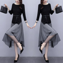Dress Spring 2021 Black two piece set Beige two piece set M L XL XXL Mid length dress Two piece set Long sleeves commute Crew neck middle-waisted Solid color other A-line skirt routine Others 25-29 years old Raman Hui / manhui Korean version Lace up stitching 056M2028 More than 95% other Other 100%