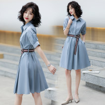 Dress Spring 2021 Haze Blue Navy Red White S M L XL Mid length dress singleton  Short sleeve commute Polo collar middle-waisted Solid color Single breasted A-line skirt other Others 25-29 years old Raman Hui / manhui Korean version Button M0HC6078 More than 95% other Other 100%